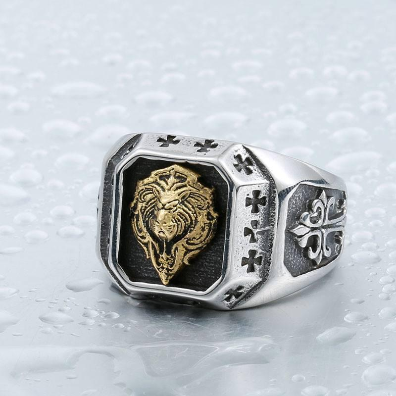 "Steel ""Templar Lion"" Ring"