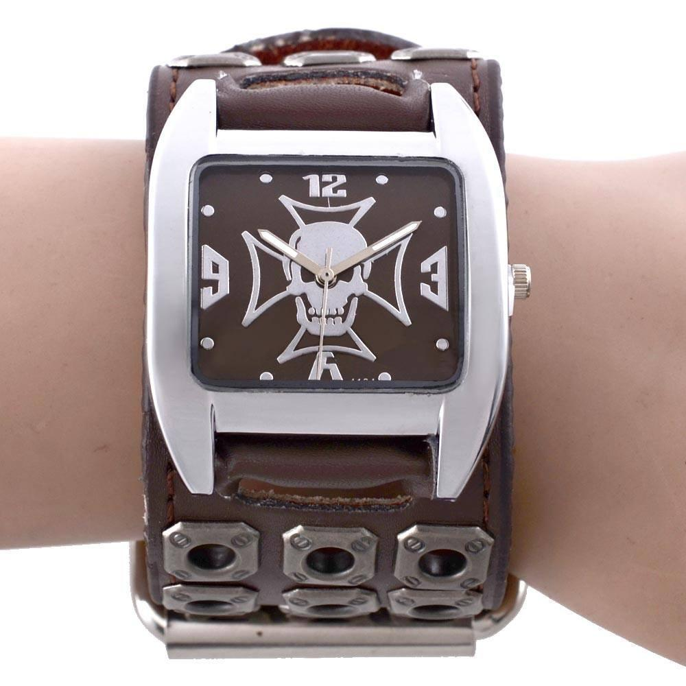 Gothic Skull Skeleton Cross Quartz Wrist Watch