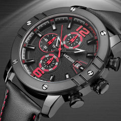Specialist™ Military Chronograph w/Leather Band