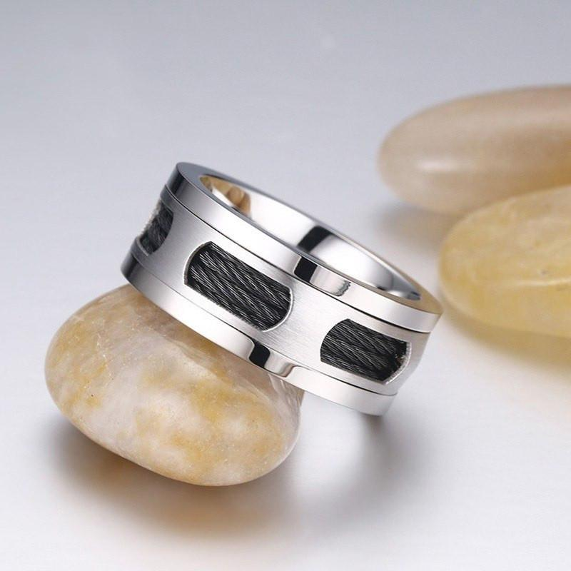 Stainless Steel Inlaid Cable Ring