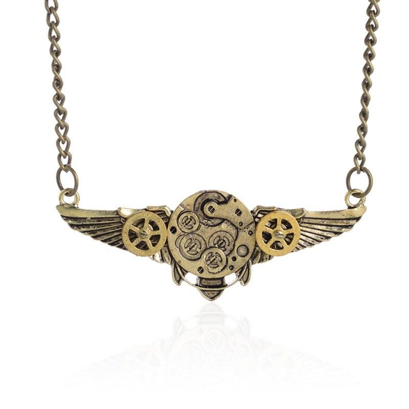 Steampunk Wing Gears Pendant Necklace