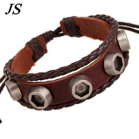 Vintage Steampunk Leather Bracelet
