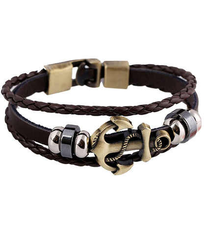 Genuine Leather Anchor Bracelet