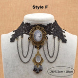 Gothic Steampunk Black Flower Lace Choker Necklace