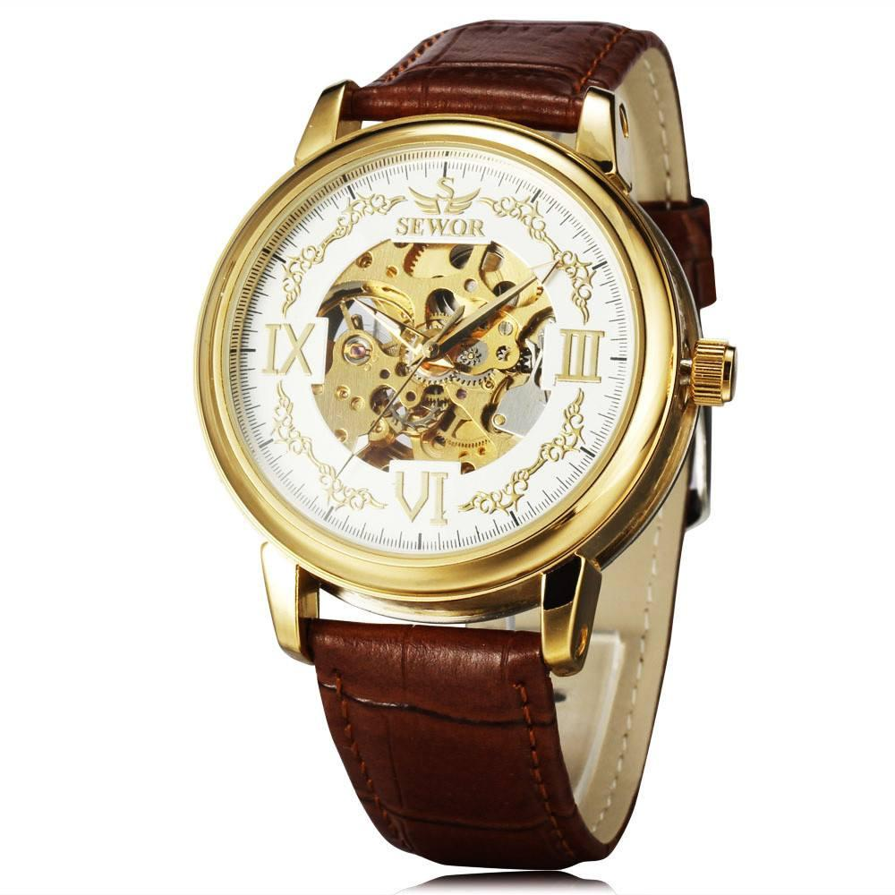 """The Phoenix"" Automatic Mechanical Wrist Watch with Leather Strap"