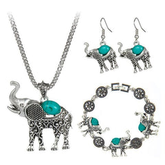 3 Piece Boho Elephant Jewelry Set - 3 Colors