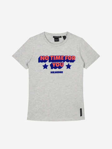 NIK & NIK T-shirt lichtgrijs American style No Time for you