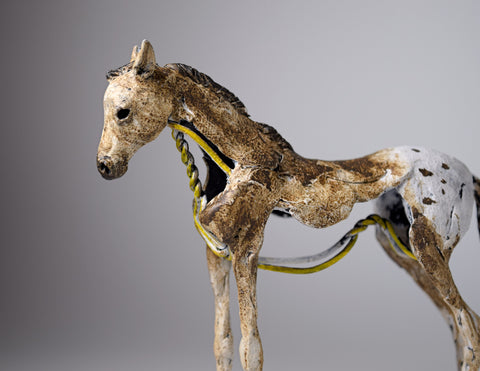 Clay and wire horse foal sculpture by Susie Benes