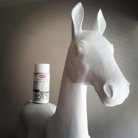Gesso air dry clay horse sculpture
