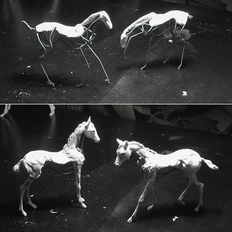 Clay and wire horse sculptures