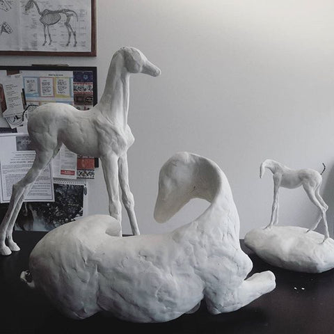Equine air dry clay sculptures by Susie Benes