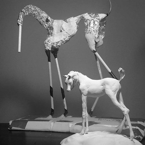 Armature for air dry clay horse sculpture