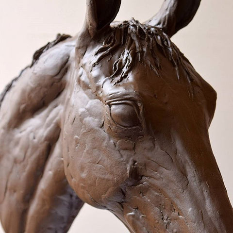 Susie Benes horse sculpture brown mare portrait