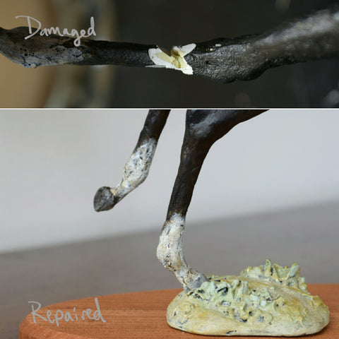 Repaired air dry clay horse sculpture
