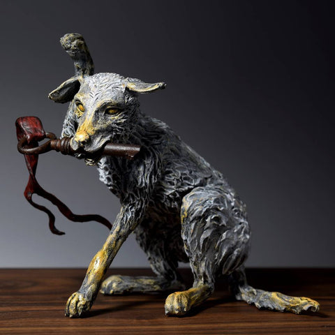 Air dry clay sculpture of a fantasy dog