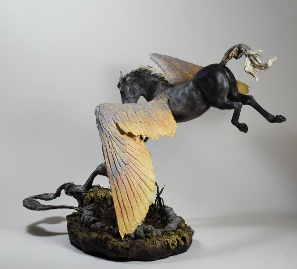 Brown pegasus sculpture in air dry clay and paper by Susie Benes