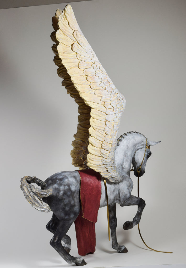 Victorious dappled grey Pegasus red blanket with gold bridle