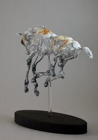 Suspending Gravity clay horse sculpture by Susie Benes