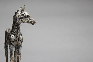Impressionistic grey horse foal sculpture by Susie Benes