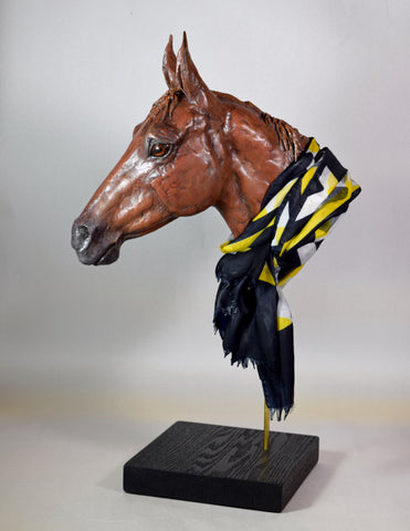 Horse head portrait sculpture clay modern Susie Benes