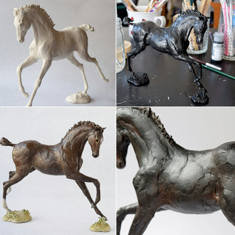 Susie Benes horse sculpture painting white black brown