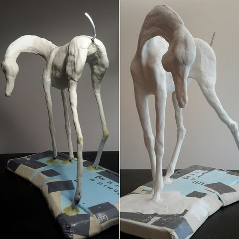 building up layers on air dry clay horse sculpture