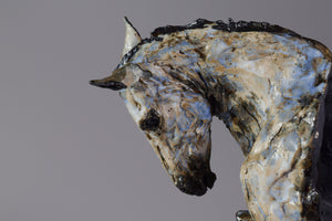 Dramatic grey Andalusian ceramic horse sculpture bust by Susie Benes