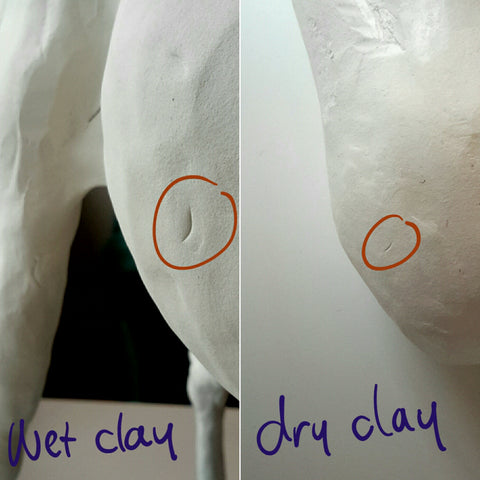 air dry clay testing to see if dry with nail