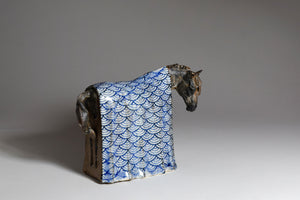 Blue and white Japanese zen horse sculpture by Susie Benes