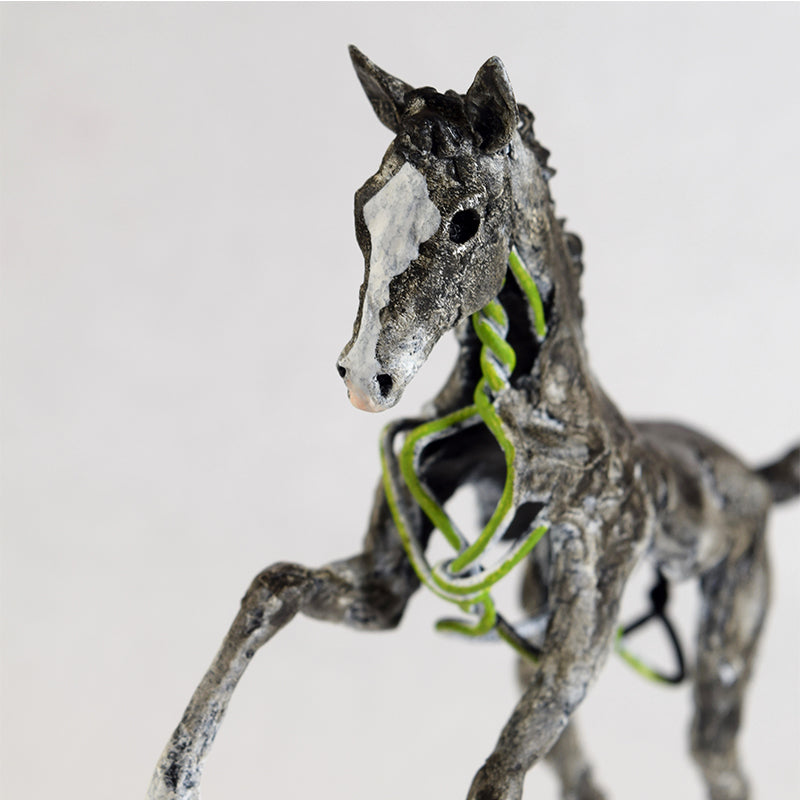 miniature wire horse and clay sculpture