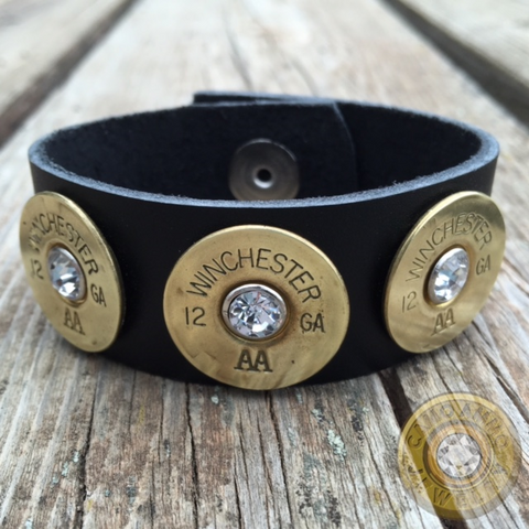 12 Gauge Brass Shotgun Shell Leather Cuff With Crystals