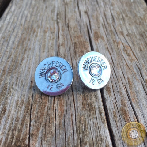 12 Gauge Brass or Nickel Shotgun Shell Stud Earrings
