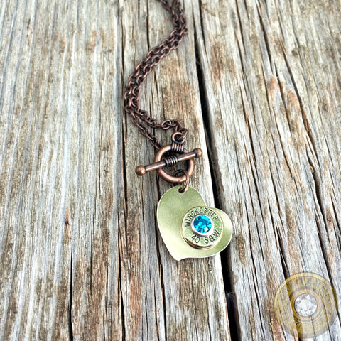 Brass Heart Pendant with .40S&W Brass Bullet Casing Necklace