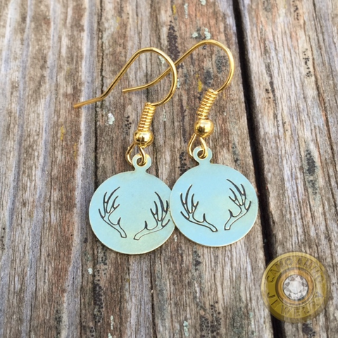 Antler Stamped Dangle Earrings Brass or Silver