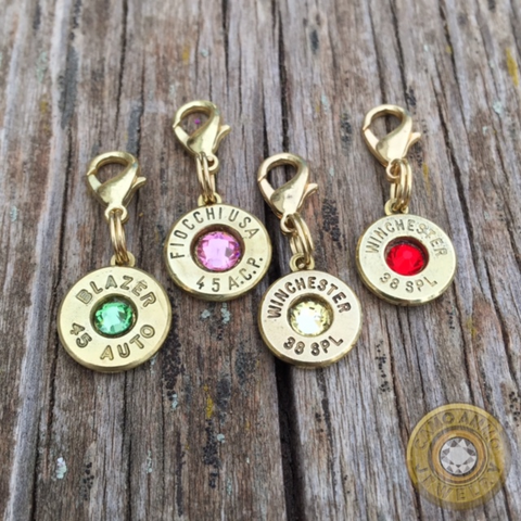 Brass Bullet Dangle Charm with Lobster Clasp