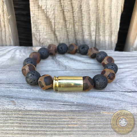 9mm/.380 Tibetan Agate and Lava Bead Stretch Bullet Casing Bracelet