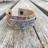 Grocery Getter Handstamped Leather Ammo Cuff Bracelet