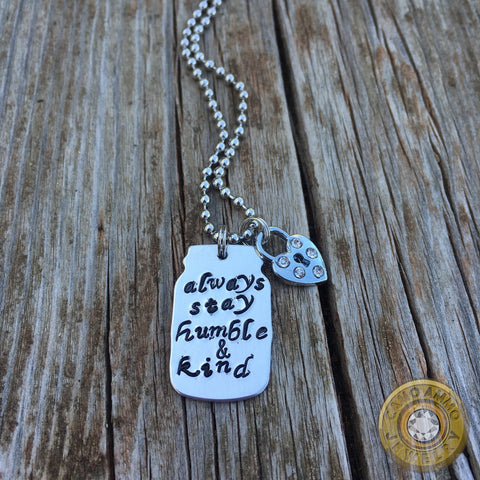 Humble and Kind Metal Stamped Mason Jar Charm Necklace