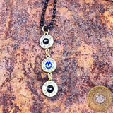 """Thin Blue Line"" .40S&W Bullet Casing Necklace with Swarovski Crystals"