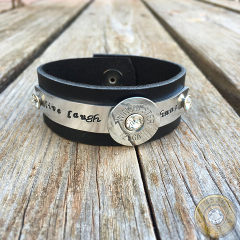 "12 Gauge Black Leather Bracelet ""Live Laugh Hunt"""