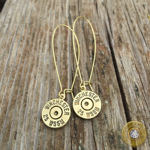 Winchester .25 WSSM Brass Bullet Casing Earrings with Gold Kidney Ear Wires