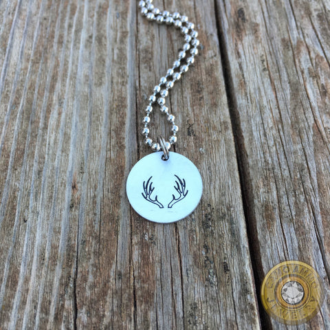 Aluminum Antler Stamped Pendant Necklace
