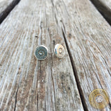 38 Auto Nickel Bullet Casing Stud Earrings with Bezel Setting