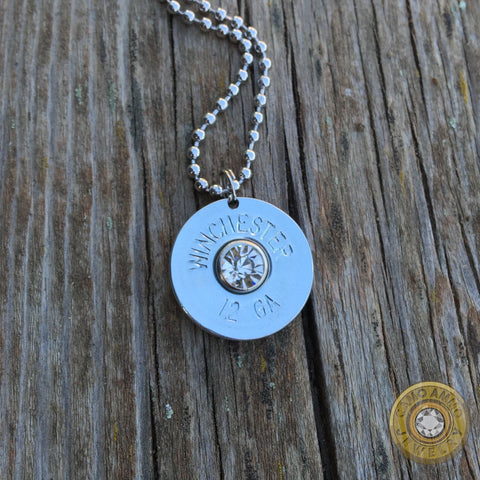 12 Gauge Shotgun Shell Necklace with Clear Crystal