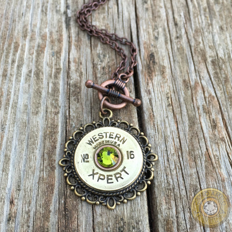 16 Gauge Antique Shotgun Shell Toggle Necklace