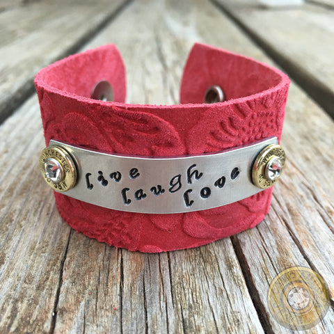 """Live Laugh Love"" Wide Leather Ammo Cuff Bracelet"