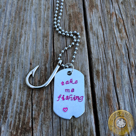 """Take Me Fishing"" Metal Stamped Dog Tag and Hook Charm Necklace"