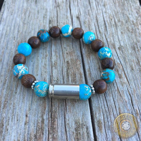 9mm Nickel Bullet Casing, Wood and Jasper Beaded Stretch Bracelet