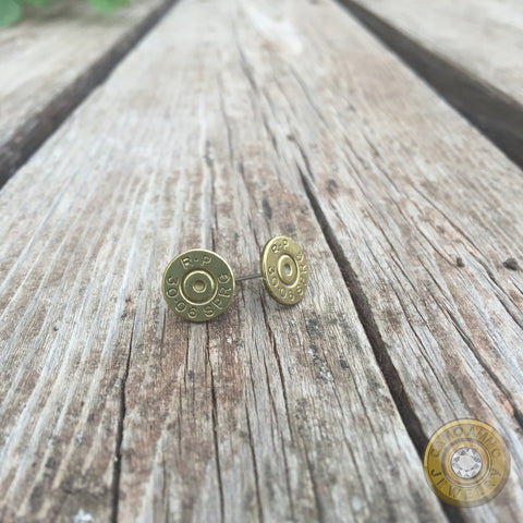 30-06 Brass Bullet Casing Stud Earrings with Swarovski Crystals