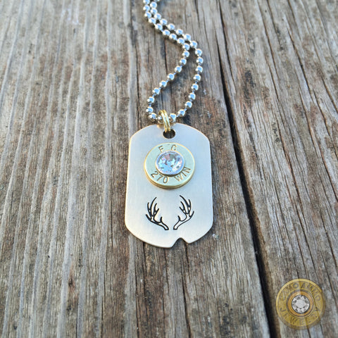 Antler Stamped Brass or Aluminum Bullet Casing Necklace